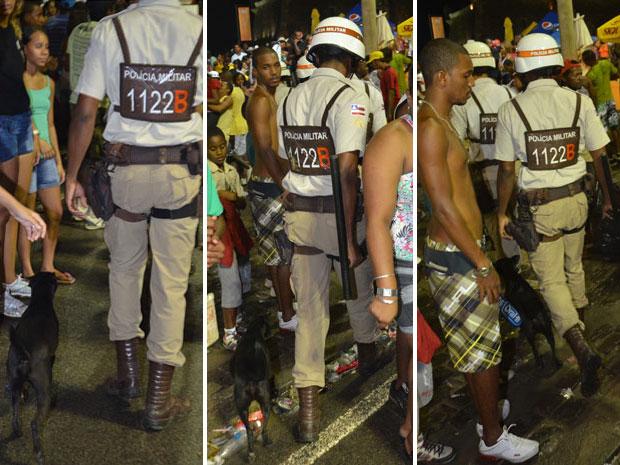 Cachorrinho segue policiais pelo circuito Dodô desde sexta-feira (17). Na sequência acima, o mascote sai da avenida Oceânica e anda na direção do centro policiamento no Farol da Barra, neste domingo (19) (Foto: Eduardo Freire/G1)