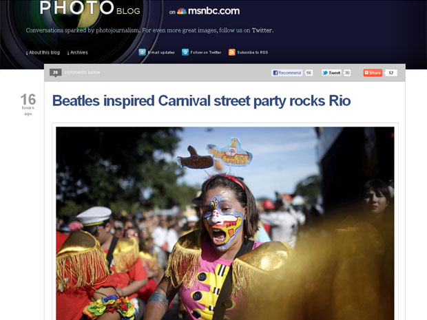 Site da MSNBC publicou fotos da apresentação do Sargento Pimenta (Foto: Reprodução)