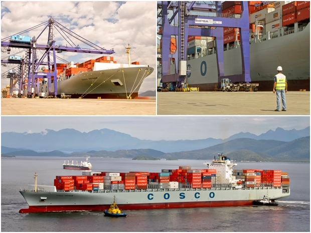 Cosco Vietnam docs in Porto de Paranagua in southern Brazil – at more than 1,000 feet, it is the largest ship ever to do so.