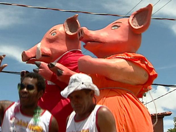 Bonecos de porcos foram atrações na Barra do Jucu (Foto: Reprodução/TV Gazeta)