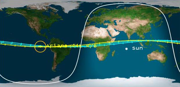 Segundo o centro de estudos americano especializado em lixo espacial, havia previsão de que fragmentos do foguete Ariane 4 readentrassem a atmosfera terrestre no dia 22 de fevereiro às 5h22 (horário de Brasília de verão)  (Foto: Reprodução/Center For Orbital and Reentry Debris Studies)
