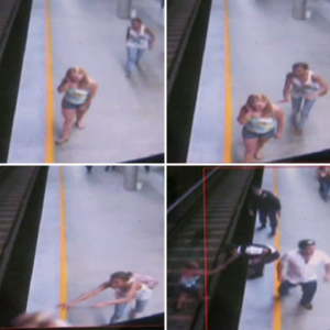 CCTV from a metro station in Brasilia shows one woman shoving another off the platform and onto the tracks