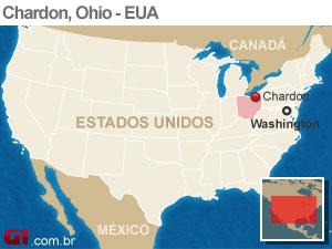 mapa tiroteio eua chardon (Foto: Arte G1)