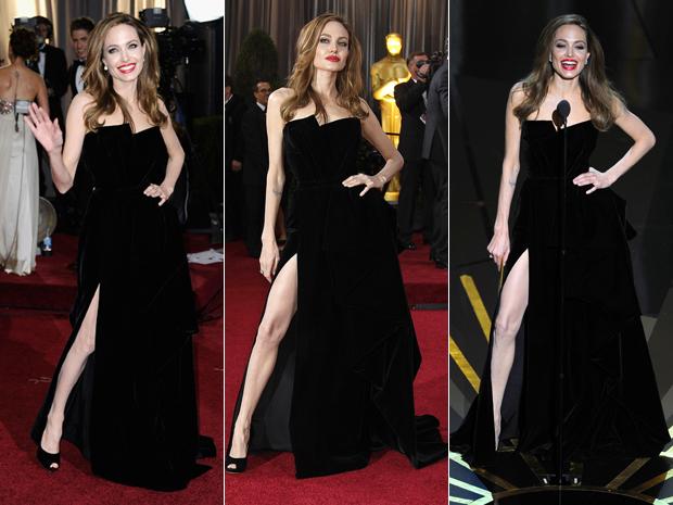 Angelina Jolie durante o Oscar 2012 em três momentos (Foto: AFP/AP/AP)