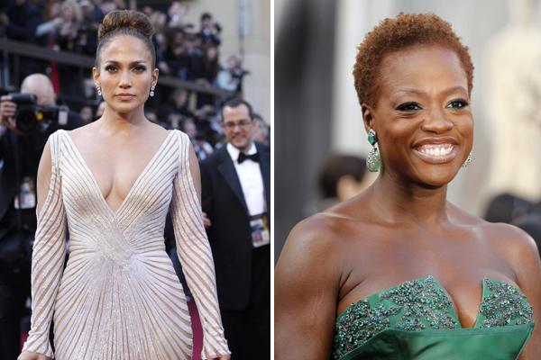 O vestido branco de Jennifer Lopez e o cabelo ruivo avermelhado de Viola Davis: duas tendências do Oscar 2012, de acordo com o estilista Arthur Caliman (Foto: Mario Anzuoni/Lucy Nicholson/Reuters)