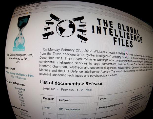 Imagem do site WikiLeaks após comunicado, nesta segunda-feira (27) (Foto: Karen Bleier / AFP)