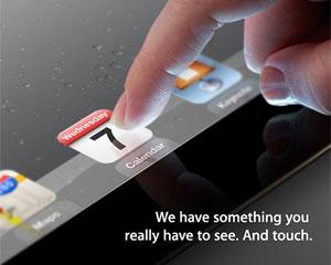 Convite enviado pela Apple mostra parte da tela do iPad 2 (Foto: Divulgação)