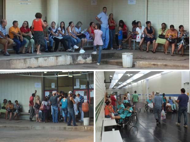 Fila para atendimento no pronto socorro do Hospital de Base de Brasília (acima); tumulto na entrada do PS após demora no atendimento (abaixo, à esquerda) e pacientes já internados aguardam consulta em uma das alas do hospital (Foto: Filipe Matoso/G1)
