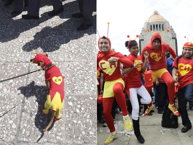 Cachorro e pessoas se vestem de Chapolim para homenagear Roberto Bolaños