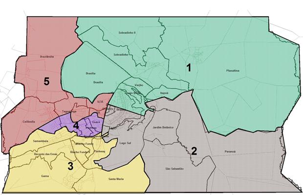 Ilustração com as bacias de transporte público que serão implementadas no Distrito Federal (Foto: GDF / Reprodução)