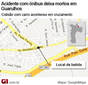 mapa acidente guarulhos (Foto: Arte/G1)