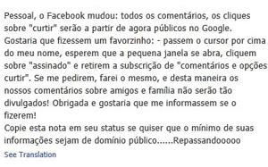 Mensagem falsa publicada no Facebook. (Foto: Reprodução)
