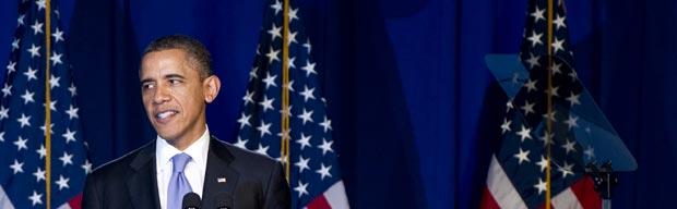 O presidente dos EUA, Barack Obama, discursa em evento de campanha do Partido Democrata, na noite desta quinta-feira (1º), em Nova York (Foto: AP)