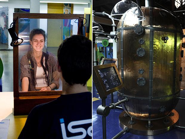 Espelho e nariz (Foto: Estação Ciência/USP/Divulgação)