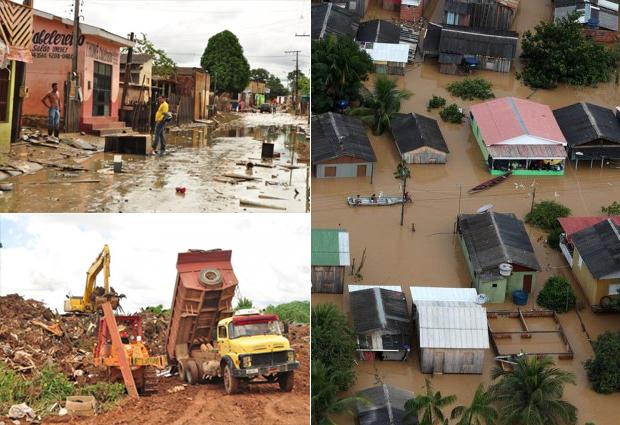Após queda no nível do Rio Acre, Rio Branco inicia operação de limpeza; 38 bairros foram afetados (Foto: Divulgação/Assis Lima e Sérgio Vale/Prefeitura de Rio Branco)