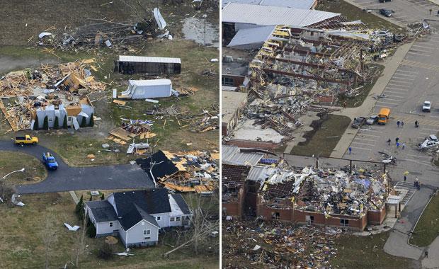 Vistas aéreas mostram destruição em Marysville (esq.) e Henryville, ambas em Indiana, neste sábado (3) (Foto: AP)