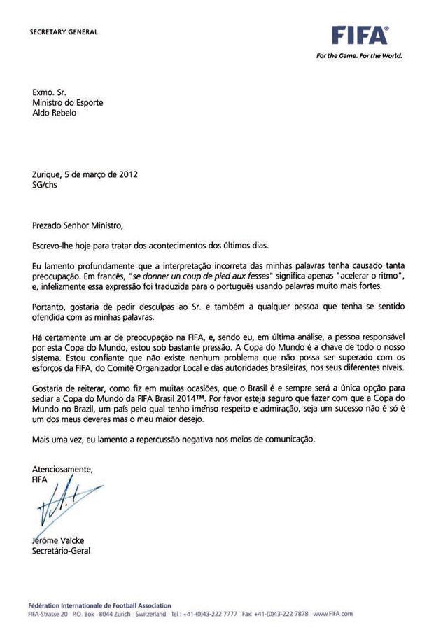 Carta Fifa (Foto: Reprodução / Ministério do Esporte)