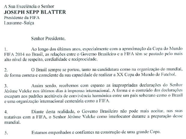Reprodução da carta enviada pelo governo à Fifa solicitando mudança na interlocução sobre a Copa. (Foto: Reprodução)