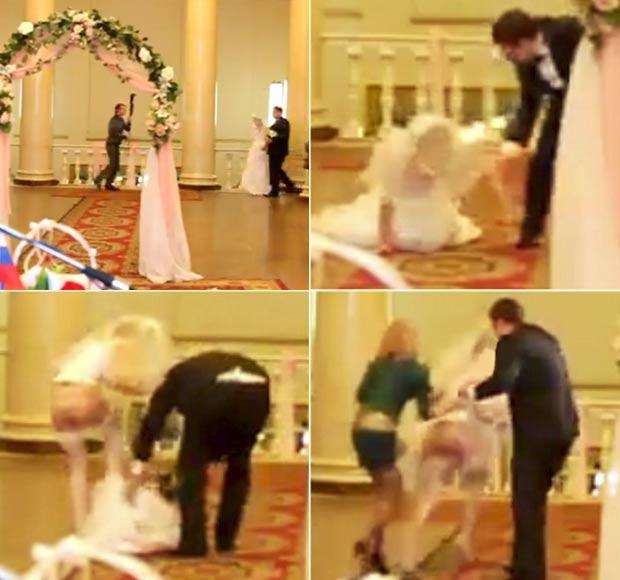 Noiva ficou quase nua durante a cerimônia de casamento na Rússia. (Foto: Reprodução)
