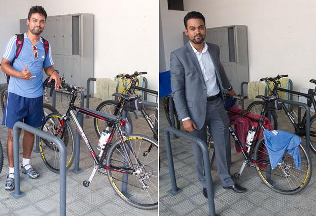 Alexandre Ferreira vai de bicicleta ao trabalho graças ao bicicletário do prédio (Foto: Arquivo Pessoal)