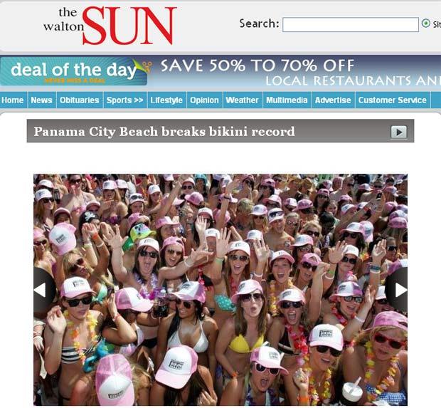 Centenas de mulheres de biquíni se reuniram para quebrar recorde na praia de Panama City (Foto: Reprodução)