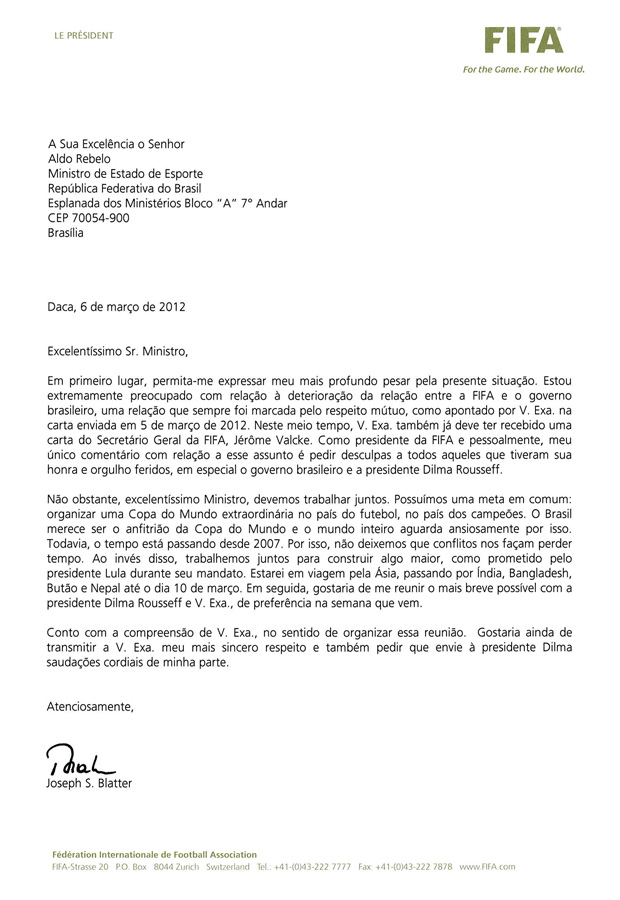 Carta do presidente da Fifa, Joseph Blatter, ao ministro Aldo Rebelo (Foto: Reprodução)