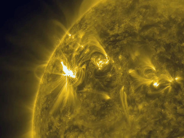Nasa registrou erupção solar nesta segunda-feira (5) (Foto: AP Photo/Nasa)