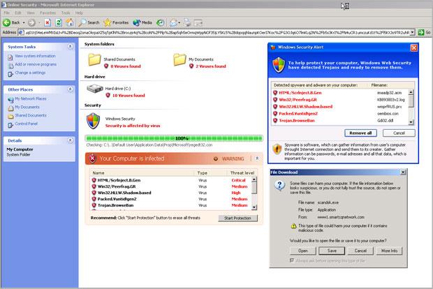 Página de internet imita janela do Windows Explorer e afirma que internauta está infectado (Foto: Reprodução/Websense)