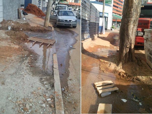 Calçada quebrada causa transtorno aos moradores vizinhos ao empreendimento; previsão de conserto é de, no máximo, 60 dias (Foto: M.A.M/VC no G1)
