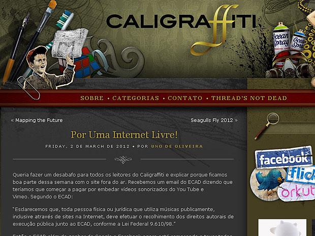 Blog Caligraffiti é recebe notificação do Ecad (Foto: Reprodução Caligraffiti)