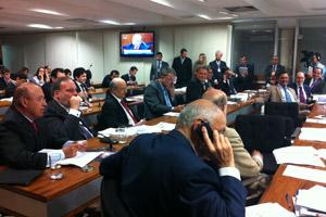 Reunião da CCJ desta quarta-feira (7) (Foto: Natalia Godoy / G1)