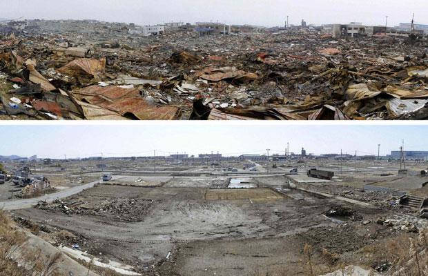 Imagens mostram a região de Ishinomaki, em Miyagi, no dia 15 de março de 2011 (acima) e em 4 de março de 2012 (Foto: Reuters/Kyodo )