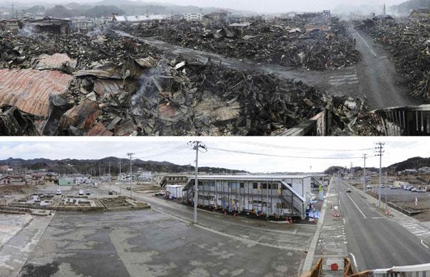Região de Kesennuma é fotografada nos dias 15 de março de 2011 e 6 de março de 2012  (Foto: Reuters/Kyodo)