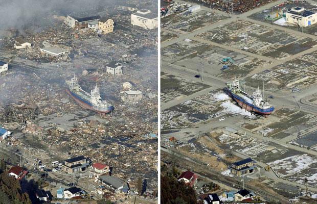 Região de Kesennuma em fotos dos dias 12 de março de 2011, um dia após o terremoto e tsunami, e em 3 de março de 2012. O tremor seguido de tsunami deixou cerca de 19 mil mortos e desaparecidos (Foto: Reuters/Kyodo)