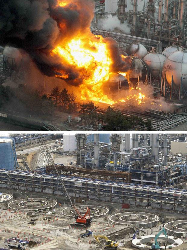 Tanques de gás natural explodem logo após o terremoto em Ichihara, na província de Chiba. A mesma região é mostrada em 3 de março de 2012 (Foto: Reuters/Kyodo)