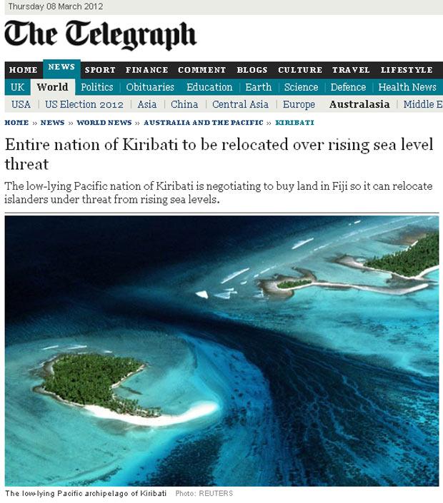 Kiribati pode desaparecer com aumento do nível do mar (Foto: Reprodução)