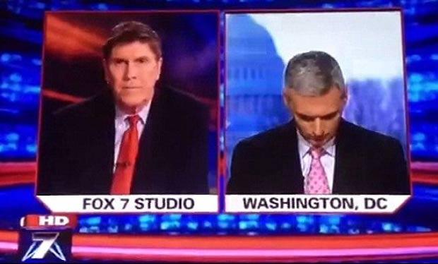 Repórter Doug Luzader, da 'Fox', apareceu 'dormingo' durante programa ao vivo. (Foto: Reprodução)