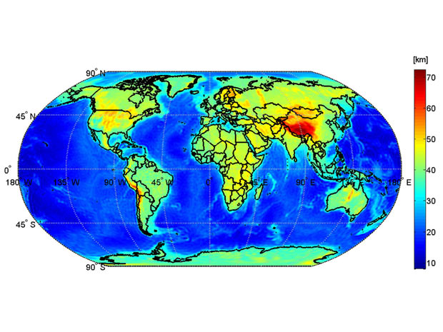 Mapa mostra a discontinuidade da camada conhecida como Moho, localizada entre a crosta e a manta (Foto: Divulgação / GEMMA project)