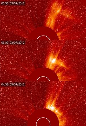 Imagens divulgadas pela Nasa mostram a evolução de uma nova erupção solar que começou na madrugada desta sexta-feira (9).  (Foto: SOHO/ESA & NASA )