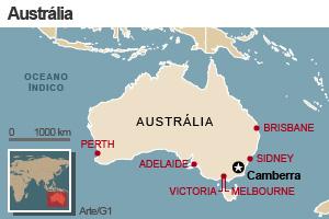 Mapa da Austrália com as principais cidades (Foto: Editoria de Arte/G1)