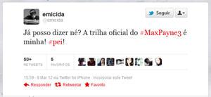 Emicida divulgou no Twitter que terá músicas no game 'Max Payne 3' (Foto: Reprodução)