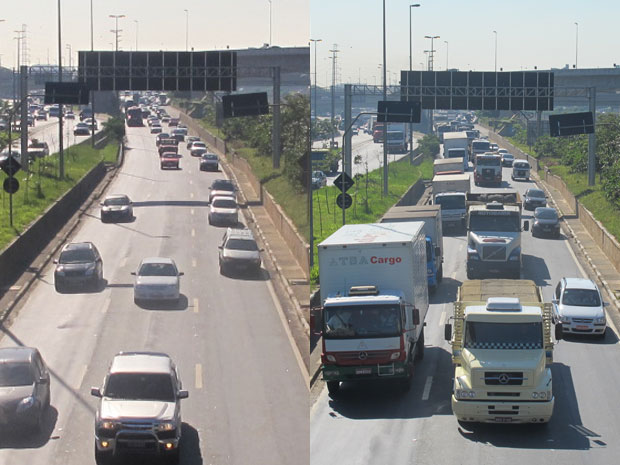 Marginal Tietê no sentido Castello Branco às 8h50, com a restrição, e às 9h05 desta sexta, já liberada para caminhões (Foto: Juliana Cardilli/G1)