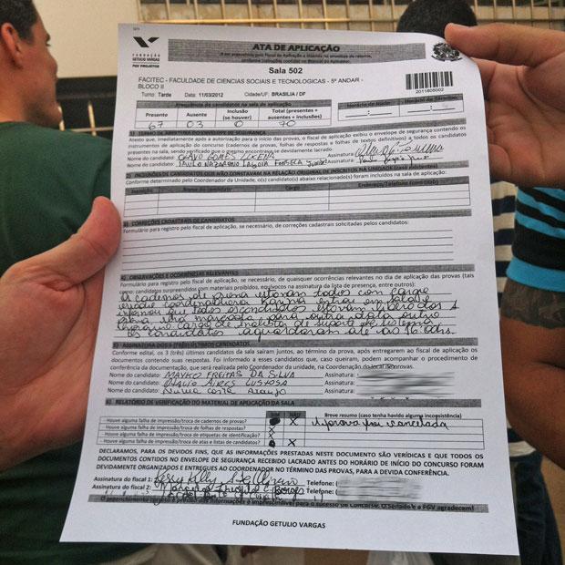 Ata de prova do concurso do Senado que registra que alunos deixaram sala na Faculdade Facitec, em Brasília (Foto: Patrícia Alencar / G1)