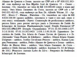 Trecho do Diário Oficial mostra valor de R$ 4,8 milhões para contratar oito médicos. (Foto: Diário Oficiail/Reprodução)