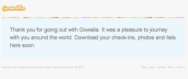 Site do Gowalla exibe despedida aos usuários. (Foto: Reprodução)