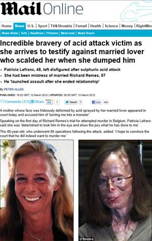 Jornal britânico mostrou antes e depois do ataque a Patricia Lefranc por seu ex-amante (Foto: Reprodução/Daily Mail)