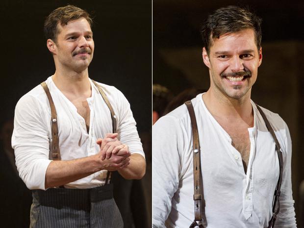 Ricky Martin atua na peça 'Evita', em Nova York, na segunda-feira (12) (Foto: AP/Charles Sykes)