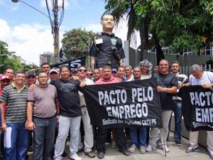 Vigilantes do estado pedem melhores salários (Foto: Katherine Coutinho / G1)