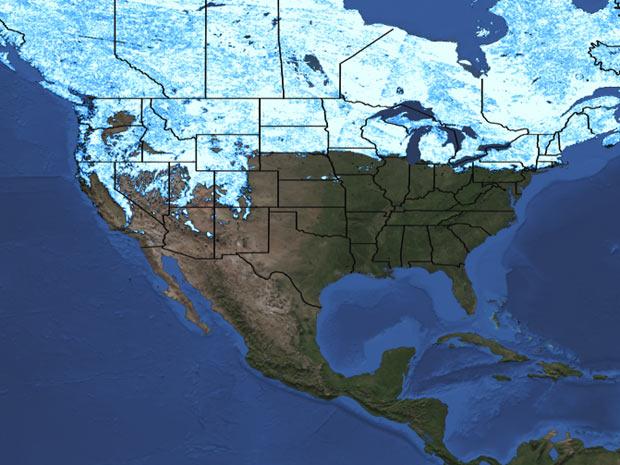 Em 2011, área coberta pela neve era maior e incluia, por exemplo, região em torno dos Grandes Lagos, mostrados no canto superior à direita (Foto: Divulgação / NASA/MODIS)