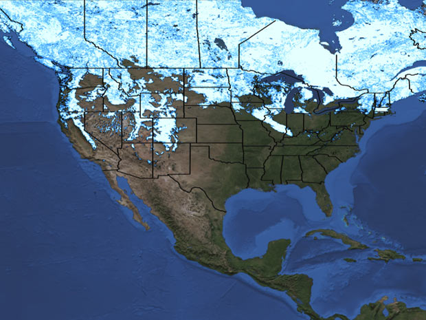 Em 2012, uma extensão menor dos EUA aparece em branco no mapa da Nasa. (Foto: Divulgação / NASA/MODIS)